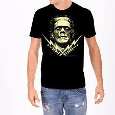 Rock Rebel Mens Frankenstein Lightning Bolts Black T Shirt Licensed