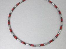 Titanium Titan Halskette Collier Koralle Hämatit Silber lange kurze Herren Damen