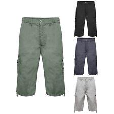 Mens Below Knee Length Combat Cargo Elasticated Waist Shorts 3/4 Trouser Size
