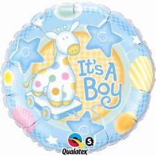 "ITS A BOY | Baby Shower | GIRAFFA blu | STARS 18"" Festa Foil Balloon Qualatex"