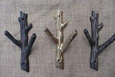Rustic Tree Branch Wall Hook - Home Decor - Cast Iron Metal Gold Coat Towel Rack