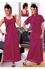 Women Nighties Wine Satin Lycra Gowns Sleep Wear Nightdress Nightwear 3060 UK
