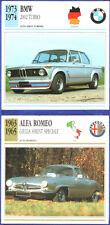 SCHEDA AUTO CAR DATA ALFA ROMEO GIULIA SS 1963/65 - BMW 2002 TURBO 1973/74
