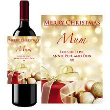 Personalizado De Botella De Vino Etiqueta Merry Regalo De Navidad Fiesta De Navidad-B15