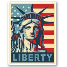 2 x Statue of Liberty USA Flag Vinyl Sticker Laptop Travel Luggage #4627