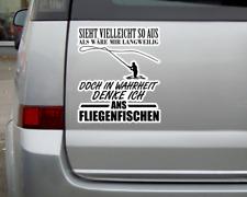 Ich denke ans Fliegenfischen Schriftzug Aufkleber Sticker Autoaufkleber
