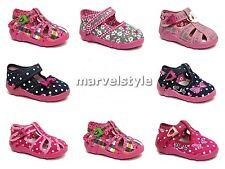 BABY GIRLS CANVAS SHOES -NURSERY SLIPPERS- SANDALS UK 3-9 /EU 19-27 - RENBUT