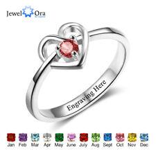 Promise Engagement Rings Custom Birthstone Engraving Love Heart Rings