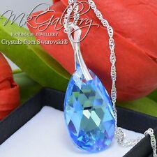 925 Silver Necklace/Pendant Crystals fom Swarovski®  * AQUAMARINE * PEAR 28mm