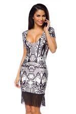 décolleté sexy robe noir franges blanches fantaisie impression occasionnels uy 1
