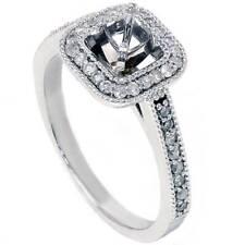 3/8ct Halo Diamond Ring Setting 14K White Gold