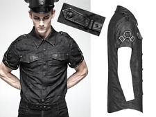 Verwaschen Jeans Hemd Steampunk Militär Gothic Punk Harness Mode PunkRave Herren
