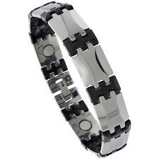 Tungsten Carbide & Ceramic Magnetic Bracelet, 2-Tone (Gun Metal,Black) Bar Links