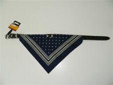 Collier chiens en cuir noir bandana bleu a pois RECORD 50 cm ou 55 cm M193