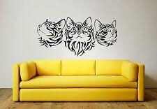 Tribal chats Mur Art Autocollant Mural, Décalcomanie, 3 x Tailles et plusieurs couleurs choix