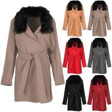Ladies Cape Cardigan Womens Faux Fur Collar Tie Belt Italian Blazer Jacket Coat