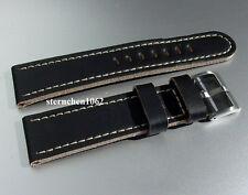 Eulit * Lederband für Uhren * Uhrenarmband * Olymp * schwarz / beige* 20 - 26 mm