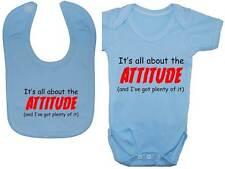 Attitude Baby Grow/Bodysuit/Romper/T-Shirt & Feeding Bib Newborn-24m Acce Gift