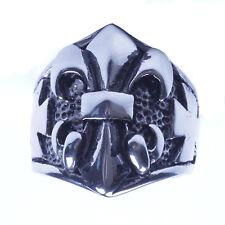 Men's Silver Stainless Steel Fleur De Lis Biker Ring Size 9-13 SR66
