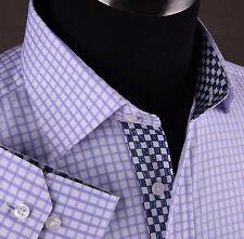 Billionaire Purple Luxury Checks Business Dress Shirt Cool Young Cash Money Boss