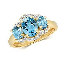 Swiss Blue Topaz and Diamond Ring Three Stone Yellow Gold Appraisal Certificate