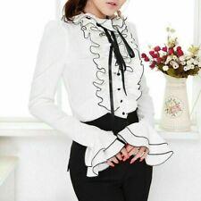 Women Lolita Shirt Top Blouse Frilly Ruffle Cuffs Long Sleeve Bow Tie Slim Fit