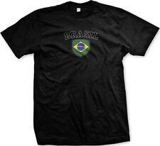 Brazil Brasil Flag Crest Brazilian National Country Pride Mens T-shirt