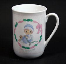 Precious Moments Merry Xmas Coffee Mug Girl Pajamas Cat Free Usa Shipping