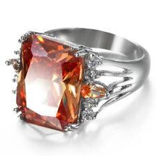 Silver Wedding Rings Natural Shiny Morganite Topaz Gemstone Rings Size 7