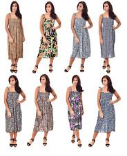Ladies Womens Summer Maxi Dress 3/4 Length Animal Print Stretch Fabric Size10-20