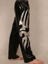 lycra spandex zentai costume wrestling tights/pants metallic black/silver