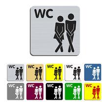 WC,Damen & Herren - Graviertes Toilettenschild,WC,Kloschild,Klo,00,80x80mm, 3.0