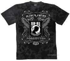 T shirt Batik black vintage HD Biker Chopper & oldschoolmotiv modèle pow mia Never