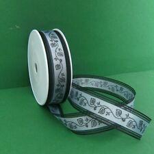 Trauerband mit Ranke, schwarz, 25mm breit, 2 - 25m