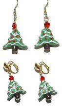 CERAMIC CHRISTMAS TREE PIERCED or CLIP ON DANGLE EARRINGS (H163)
