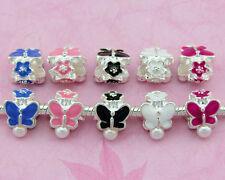 20 x 50 x Silver /P Butterfly Flower pearl Charm Beads Fit European Bracelet E33