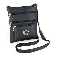 Womens Black Hip Bag With Gold. Small Shoulder Handbag. Ladies Messenger