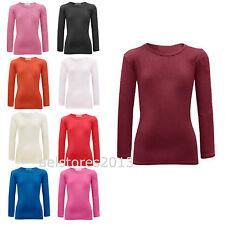 T-shirt Uni Manches Longues Fille Coton Hauts Extensible Âge 2 - 13 Ans Neuf
