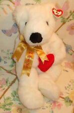 "TY CLASSIC 14"" WHITE PLUSH VALENTINE I LOVE YOU BEAR ROMEO MWT W/ HEART PILLOW"