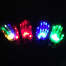 US LED Flashing Finger Light Up Gloves Lighting Xmas Rave Party Dance Skeleton