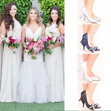 Ladies Womens Bridal Shoes Wedding Bridesmaid Stiletto Low Kitten Mid Heel Size