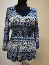 Shirt-Damen Hegler FASHION, Rundhals unterlegt, Taille gesmokt, Druck
