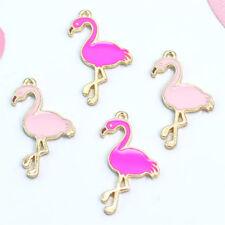 10 Pcs Enamel Flamingo Pendant Charms For DIY Necklace Bracelet Jewelry Mar GNFH