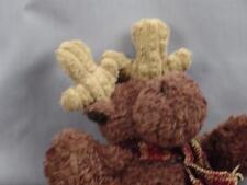 NEW RUSS BERRIE PLAID WINTER SCARF BROWN MOOSE PLUSH STUFFED ANIMAL ANTLER