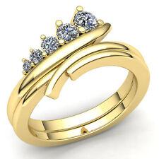 1carat Genuine Round Cut Diamond Ladies Accent 5Stone Wedding Band 18K Gold