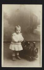 TIN PULL TOY TRAIN ENGINE W/ CHILD RPPC PHOTO, LARGE & IMPRESSIVE, 1913-1929