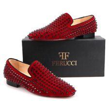 Men FERUCCI Burgundy Velvet Slippers Loafers Flat With Black Spikes Rivet