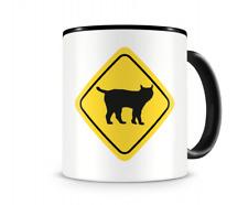 Luchs Warnschild Tasse Kaffeetasse Teetasse Kaffeepott Kaffeebecher Becher