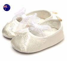 Baby Shower Girl Children Kid Christening Ballet Beige Creamy White Satin Shoes