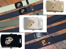 USMC Style Belt Buckle Web Marine Corps Military Semper Fi Grunt Globe w P38